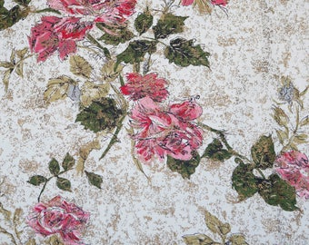 Midcentury 50's modern floral barkcloth / off-white ground with pink and green flowers and gold accents.