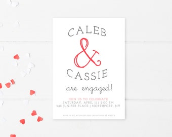 Engagement Party Invitation, Heart Engagement Party Invitation, Custom Engagement Invitation, Printable Engagement Invitation