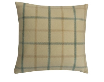 Lewis Tartan check faux wool Duck egg Blue, Ivory, Yellow scatter cushion cover/ pillow case  hand made in Britain country home garden