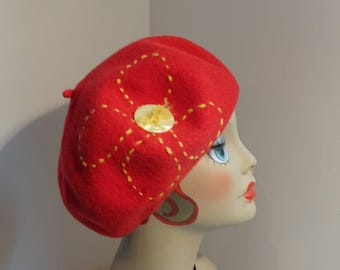 Classic French Beret Wool Red Hand Embroidery 1930's