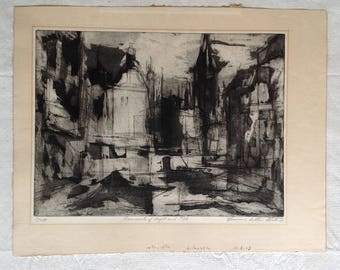 Signed Original Aquatint and Etching by Norman Arthur Bate