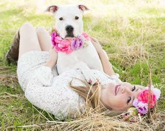 Dog Flower Crown, Dog Flower Collar, Flower Crown, Pet Flower Crown