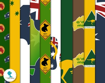 Australia/Aussie Digital Scrapbooking Paper Pack, Buy 2 Get 1 FREE. Instant Download