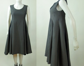 90s American Psycho herringbone sculpted trapeze fishtail dress