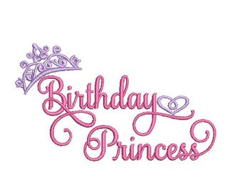 Birthday Princess Embroidery Design in 3 Sizes - INSTANT DOWNLOAD