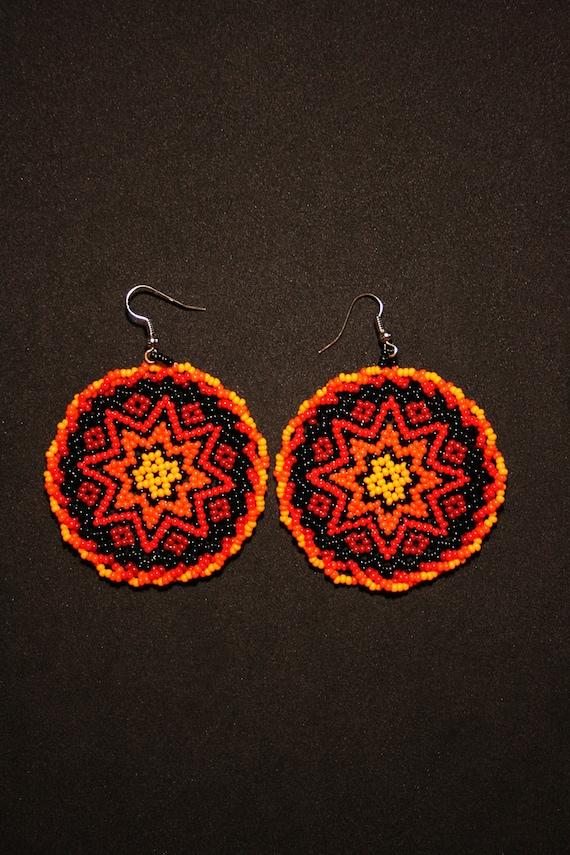 Morning Star Earrings, Huichol Sun Earrings, Small Medallion Earrings, Native American Beaded Earrings, Huichol Jewelry, Authentic Beading