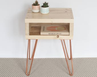 Olav Bedside Table | Side Table | Small Table | Natural Finish | Reclaimed Wood | Copper Hairpin | Industrial Nightstands