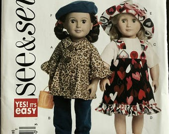 "See & Sew B5944 - Easy Dolls Jacket, Top, Jumper, pants, Sun Hat and Berret - Size 18"" Doll"