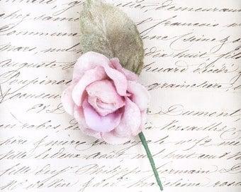 small velvet rose. miniature rose. millinery rose. wedding favour. parcel topper.