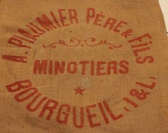 Vintage French Hessian,Grain sac ,jute Burlap,sack,home decor,1960's