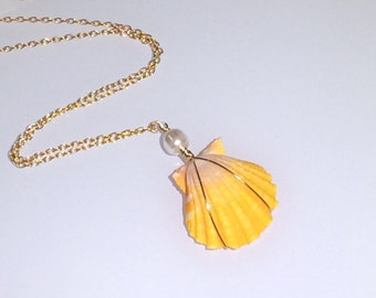 Sunrise Shell and Pearl Necklace