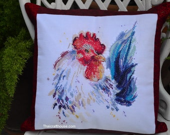 """Rooster Cushion Cover,needle work,14 x 13"""""""