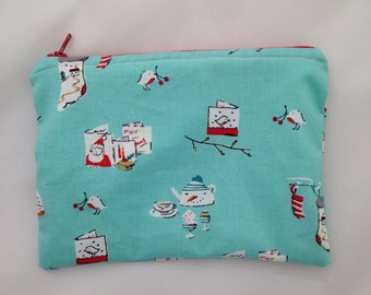 Makeup Bag Auqua Zip Pouch Cherry Christmas OOAK Knitting Notions Bag