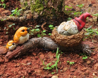 Fairy Garden  - Garden Gnome Napping In Bird Nest - Miniature