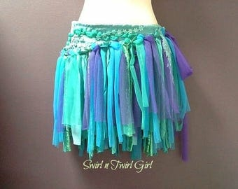 WOMANS MERMAID TUTU, festival wrap belt, shabby tutu skirt, aqua purple blue green, tattered mermaid dance tutu, burning man, rave costume