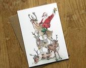 Hand Drawn Christmas Card: Reindeer Santa Stack