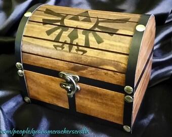 Legend of Zelda Themed Wooden Storage/ Wedding Keepsake Chest ( Hand Burned ) Customizable Design/ Name Engraving 6 x 5 x 5 (inches)