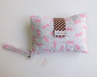 Diaper Clutch/Diaper Bag/Diaper Wipes/Diaper Bag Organizer/Small Diaper Bag/Wipes Clutch/Diaper Pouch/Diaper Case/Girl Clutch/BrownPolkaDot