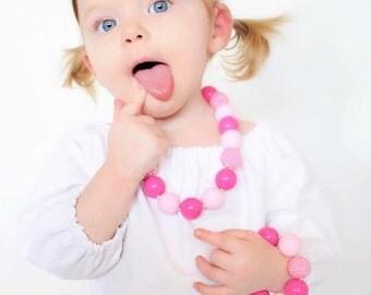 Pink Sparkle Bubblegum Necklace, Pink 1st Birthday Necklace, Pink Chunky Necklace, Pink Chunky Bubblegum Necklace, Pink Toddler Necklace