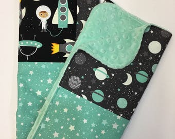 Space Explorers Baby Blanket, Gender Neutral Minky Blanket, Nursery Bedding, Stroller Blanket, Robert Kaufman, Stars, Planets, Rockets, Aqua