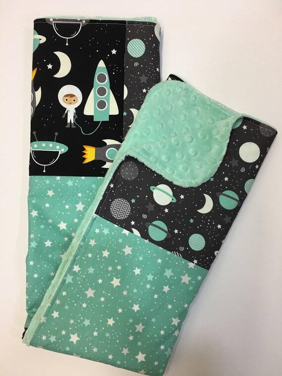 Space explorers baby blanket gender neutral minky blanket for Space minky fabric