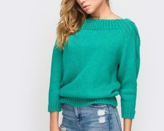 Women's sweaters Light green sweater Knitted sweater  Autumn Spring sweater  Casual