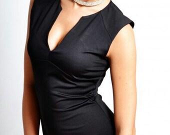 Little black dress LBD Dress without sleeves Elegant mini dress Spring clothes women Jersey mini dress V- neck Simple elegant little dress