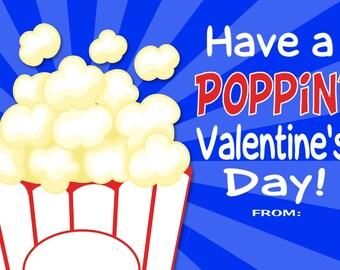 Popcorn Valentine Cards Print at Home File