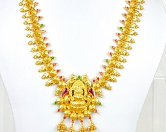 Antique gold design Indian lakshmi temple kemp necklace  with earrings  | Indian Jewellery | Indian Necklace | Temple Jewelry