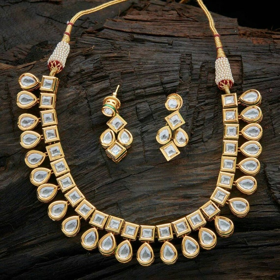 Meenakari kundan necklace with matching earrings and tikka perfect for indian weddings as a guest or as a bridal necklace
