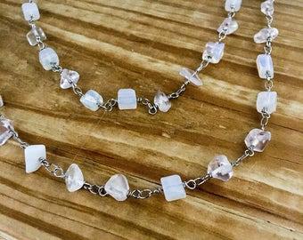 White beaded necklace, white necklace, necklace white, white link necklace, white chain necklace, white beaded link necklace