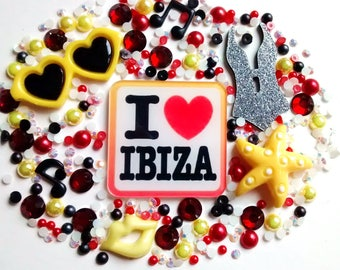 Ibiza holiday decoden set - music - beach - rave - kawaii - phone case - jewellery making - scrapbooking - card making embellish cabochons