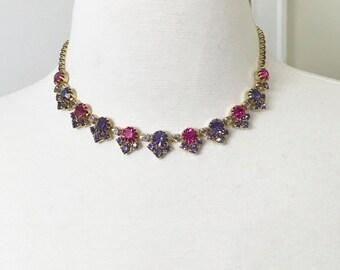 Vintage Beautiful Purple & Hot Pink Rhinestone Necklace