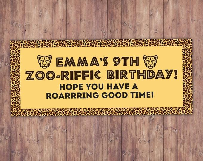 Zoo, Banner, , Zoo birthday, baby shower, Party favor, twins birthday, animal print, animals, ,safari birthday, Animal print, Cheetah