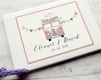 VW Campervan Personalised/Personalized Wedding Guest Book - Choose Camper Colour