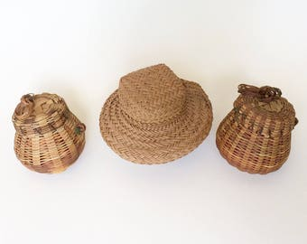 Trio of tiny baskets, collectible baskets
