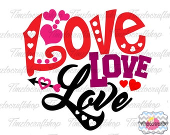 SVG, Dxf, Eps & Png Love Heart Cricut and Silhouette cutting machines, Digital INSTANT DOWNLOAD
