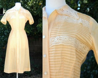 1950s Golden Yellow Pleated Shirt Dress with Lace Details // 50s Orange Yellow ShirtDress with Pleated Full Skirt