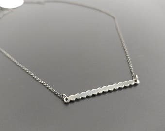 Bead bar necklace ~ sterling silver