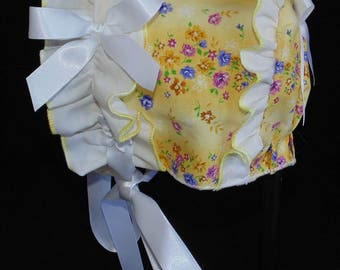 New Handmade Yellow Floral with Ruffled Trim Baby Bonnet