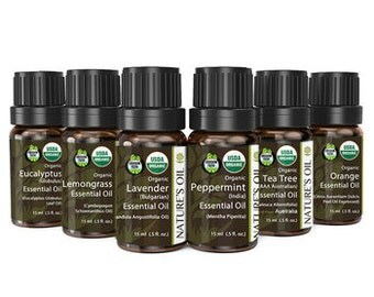 6 Piece Certified Organic Essential Oil Starter Kit