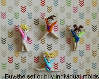 Gymnast Silicone Mold Cake Tool Fondant Chocolate Candy DIY Cupcake Topper Decorations Polymer Clay Craft Gymnastics Embellishment