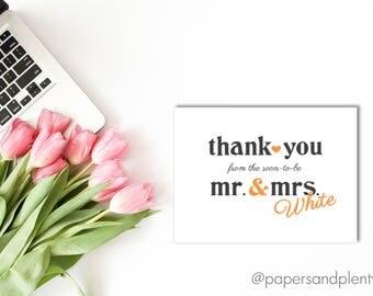 Mr. & Mrs. Wedding Thank You Card   Newlywed Thank You Card   Wedding Gift Thank You Card - Printable File