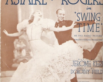 1936 A Fine Romance Swing Time Fred Astaire Ginger Rogers Vintage Sheet Music