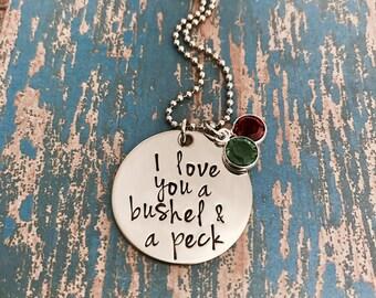I love you a bushel and a peck Disc Necklace with Swarovski Crystal Birthstones - bushel & a peck - Mother's necklace - Nana - Grandma -