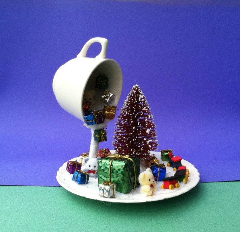 Christmas decor floating cup centerpiece winter