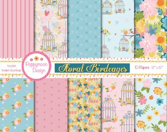 Floral birdcages, digital paper pack