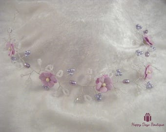 Bridal hair vine pale lilac