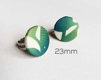 CLEARANCE Adjustable Ring made with recycled fabric button, fabric ring, ajustable ring, button ring, fabric button, in Broussailles Green