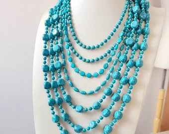 Multiple Turquoise Beaded Strands  Necklace Acrylic Statement Beads Necklace
